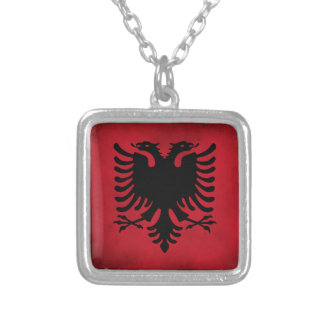 Grunge Albanian Flag [High Quality] Silver Plated Necklace