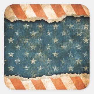 Grunge America Flag Pattern Square Sticker