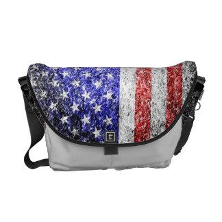Grunge American Flag 2 Messenger Bags
