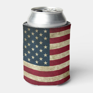 Grunge American Flag Can Cooler