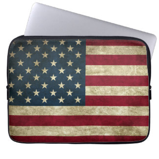 Grunge American Flag Laptop Sleeve