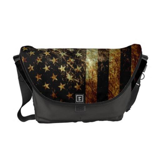 Grunge American Flag Messenger Bags