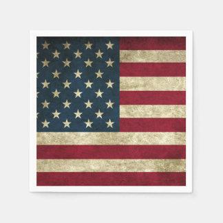 Grunge American Flag Paper Napkin