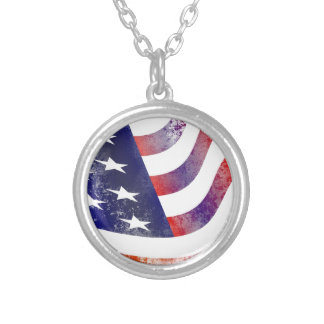 Grunge American Flag Silver Plated Necklace