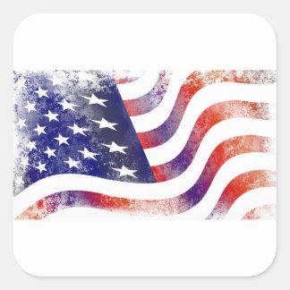 Grunge American Flag Square Sticker