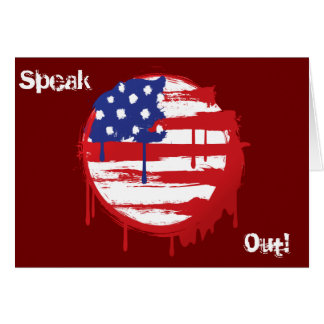 Grunge American Flag with Running Color Drips Greeting Card