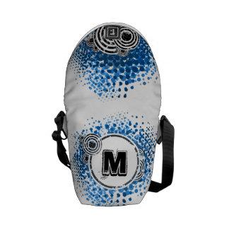 Grunge and Circles - Customizable Urban Monogram Messenger Bag