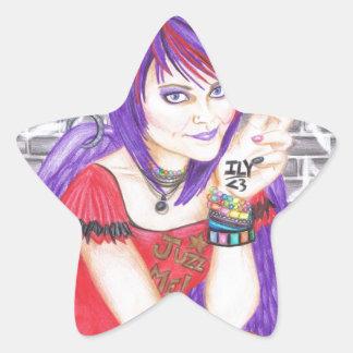 Grunge Angel Star Sticker