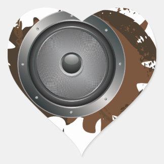 Grunge Audio Speaker 2 Heart Sticker