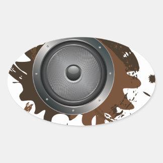 Grunge Audio Speaker 2 Oval Sticker