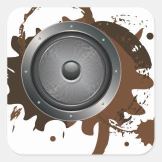 Grunge Audio Speaker 2 Square Sticker