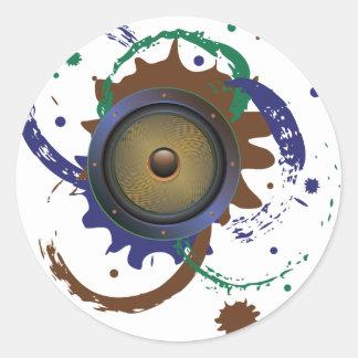 Grunge Audio Speaker 3 Classic Round Sticker