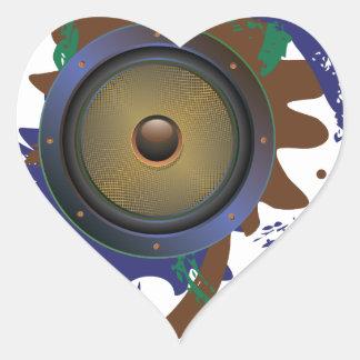 Grunge Audio Speaker 3 Heart Sticker