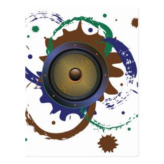 Grunge Audio Speaker 3 Postcard