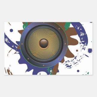 Grunge Audio Speaker 3 Rectangular Sticker