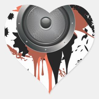 Grunge Audio Speaker Heart Sticker