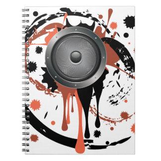Grunge Audio Speaker Spiral Notebook
