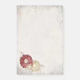 Grunge Background Maroon Cream Daisy Design Post-it Notes