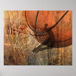Grunge Basketball Print Poster