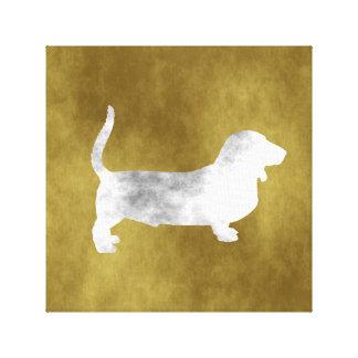 grunge basset hound canvas print
