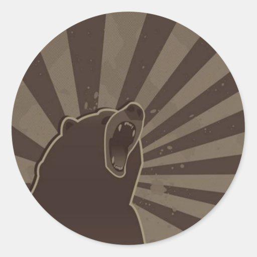 Grunge Bear Classic Round Sticker