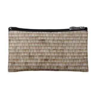 grunge beige wood wall texture cosmetic bag