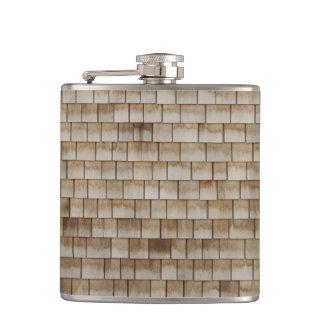 grunge beige wood wall texture hip flask