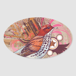 Grunge Bird I Oval Sticker