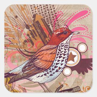 Grunge Bird I Square Sticker