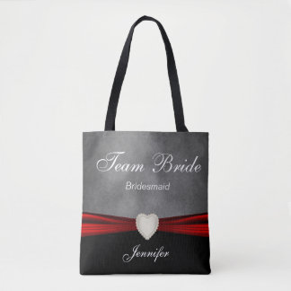 Grunge Black, Gray and Red Team Bride Tote Bag