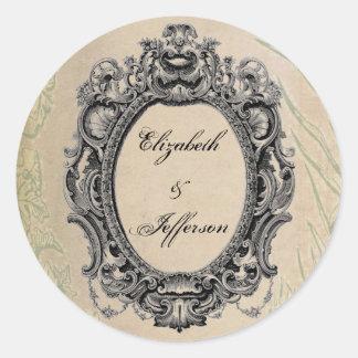 Grunge Black Vintage Frame Monogrammed Stickers
