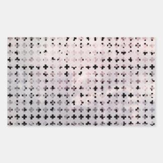 Grunge Black White Faded Cross Geometric Pattern Rectangle Sticker