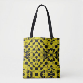Grunge blocks pattern, black and yellow bricks tote bag