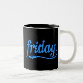 GRUNGE BLUE BLACK FRIDAY WEEKDAY Two-Tone COFFEE MUG