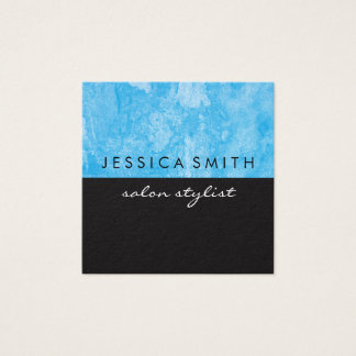 Grunge Blue Black Two Tone Square Business Card