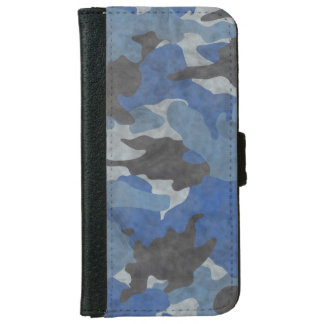 Grunge Blue Camo Camouflage iPhone 6 6S Wallet