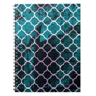 Grunge Blue Moroccan Design Notebook