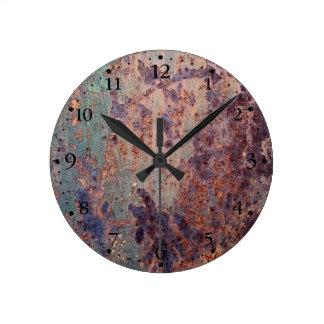 Grunge Blue Rusted Metal Pattern Clockface 1 Round Clock