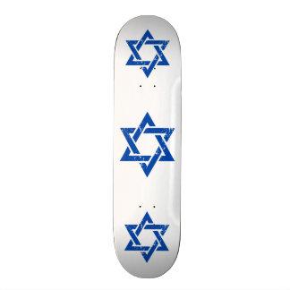 Grunge Blue Star of David Skate Board