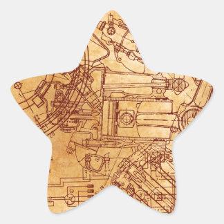 Grunge blueprint star stickers