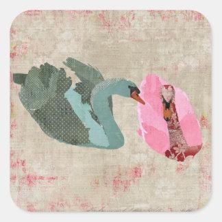 Grunge Blush & Olive Swans Sticker