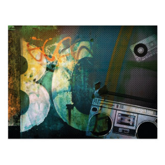 Grunge Boombox Post Card