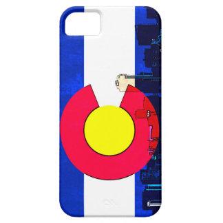 Grunge bright Denver Colorado flag skyline Case For The iPhone 5