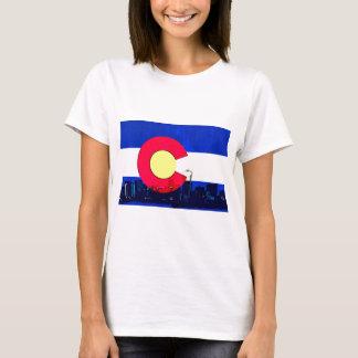 Grunge bright Denver Colorado flag skyline T-Shirt