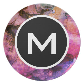 Grunge Bright Watercolor Ink with Monogram Plate