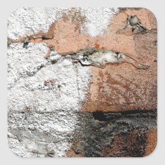 Grunge Brown and White Brick Wall Square Sticker