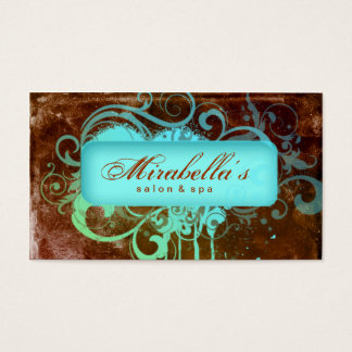 Grunge Business Card Flower Salon Spa Brown Blue