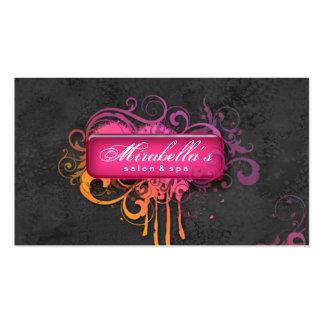 Grunge Business Card Flower Salon Spa Gray Pink