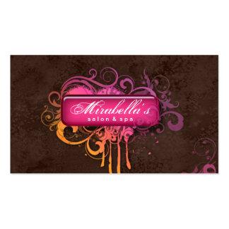 Grunge Business Card Flower Salon Spa Pink Brown