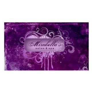 Grunge Business Card Flower Salon Spa Purple
